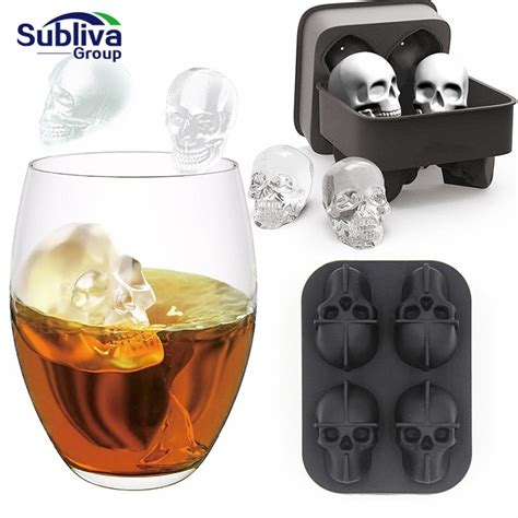 Skull Shape 3D Ice Cube Mold Cool Whiskey Wine Cocktail