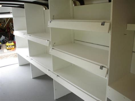Trailer shelves with drop down fronts | Cargo Trailer
