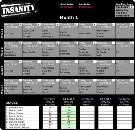 Insanity calendar, Insanity workout schedule and Insanity