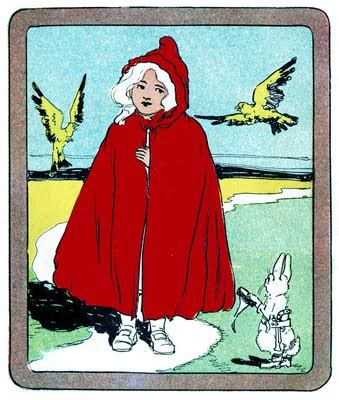 Vintage Clip Art - Classic Little Red Riding Hood - The