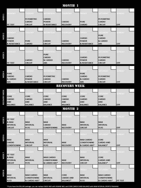 Insanity Month 1 Review and Calendar